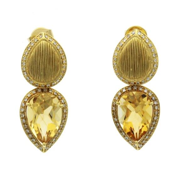 bae721e83 Unbranded Jewelry   Gold Citrine Diamond 18k Yellow Teardrop Earring ...